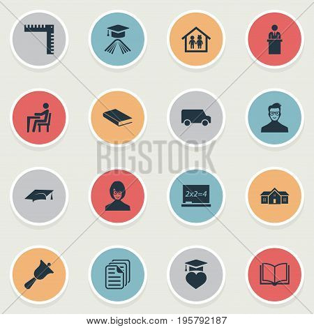 Vector Illustration Set Of Simple Education Icons