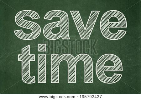 Timeline concept: text Save Time on Green chalkboard background