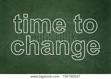 Time concept: text Time to Change on Green chalkboard background