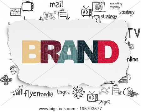 Advertising concept: Painted multicolor text Brand on Torn Paper background with  Hand Drawn Marketing Icons