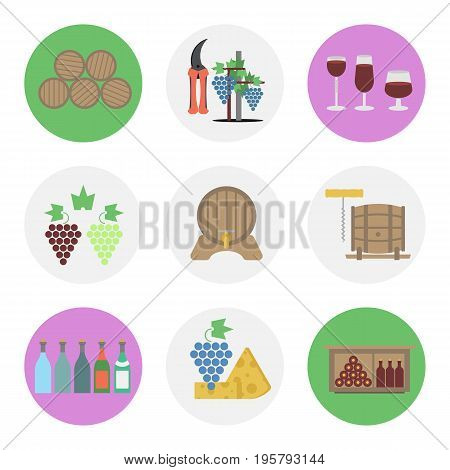 Vector set of nine flat round icons for wine production. Viticulture tools, barrels, shelves for storing bottles, cheese and grapes