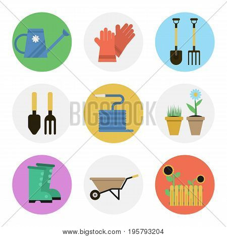 Vector set of nine flat round icons for gardener tools and equipment