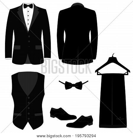 Wedding men's suit with shoes tuxedo. Mens jacket. Waistcoat. Collection. Vector illustration.