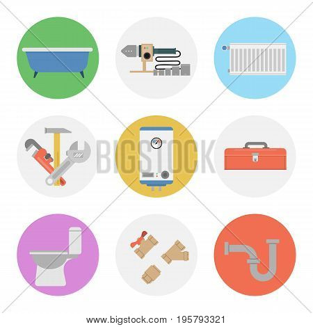 Vector of flat nine colored round icons for plumbing set. Bathtub, radiator, water meter, boiler and special tool