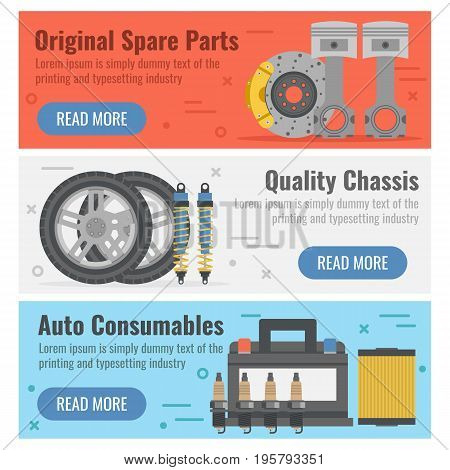 Vector horizontal three banners for auto spare parts in flat style with button. Original details, quality chassis and auto consumables on colored backgrounds