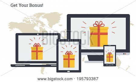 Vector illustration. Bonus in yellow gift box on monitors of varios computers. Promotion, bonus, prize or winnings through computer, laptop, tablet and smart phone. Horizontal web banner in flat style