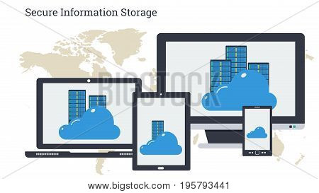 Vector illustration. Secure online cloud storage and server on monitors of varios computers. Safe using of data or personal information by computer, laptop, tablet and smart phone in flat style