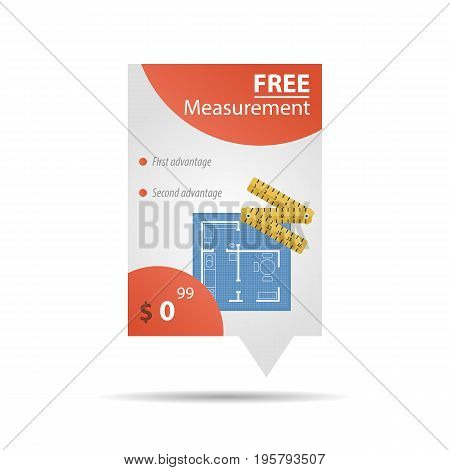 Vector vertical free measurement banner with house plan and measuring tape and price in corner. Template for web design isolated on white background