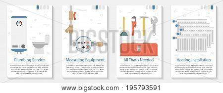Vector vertical four banners on white background for plumber set. Home radiators, water meter, boiler and special tools in flat style