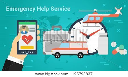 Vector illustration. Horizontal flat business web banner of emergency help service. Doctor on call, medical helicopter and car, medications and pills