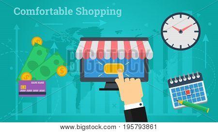 Vector illustration. Horizontal flat business web banner of online market. Internet shop, calendar, money and time