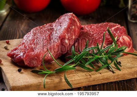 Fresh Raw Beef Steak Sirloin With Rosemary
