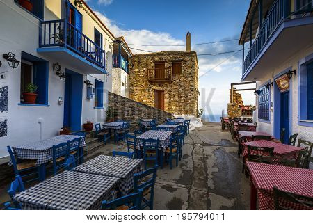 ALONISSOS, GREECE - JUNE 18, 2017: View of the Chora village on Alonissos island in Sporades archipelago in Greece on June 18, 2017.