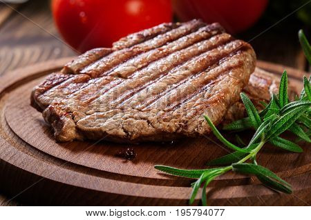 Succulent Portions Of Grilled Fillet Mignon Served With Rosemary