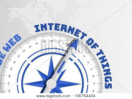 Compass needle pointing towards industry 4.0 text as concept for IOT