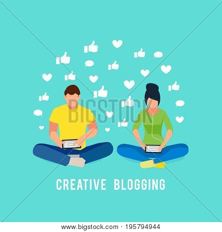 Couple man and woman sitting in lotus position and read using a tablet pc. Young bloggers receiving positive feedback. Vector illustration.