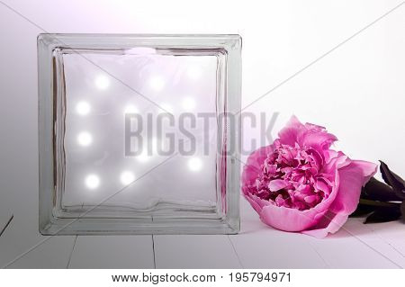 Deco glass block with pink peony and lighs inside mockup on a table. Interior photography.