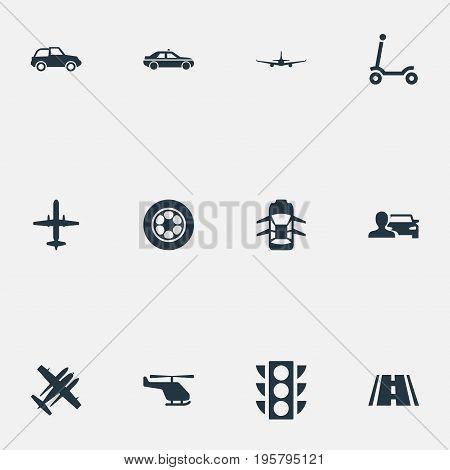 Vector Illustration Set Of Simple Transportation Icons