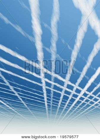 high resolution 3d blue sky background with white clouds and plane or aiplane trails or traces. Ideal for nature,health,sport or holiday designs