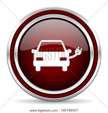 Electric car red glossy icon. Chrome border round web button. Silver metallic pushbutton.