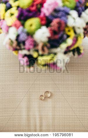 Wedding Ring Near Bouquet