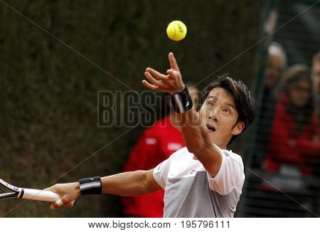 BARCELONA, SPAIN - APRIL, 27: Japanese tennis player Yuichi Sugita in action during a match of Barcelona tennis tournament Conde de Godo on April 27, 2017 in Barcelona Spain