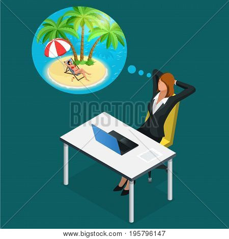 Isometric office worker or business woman in the workplace dreams of rest, vacation and travel. A break in the time of work. Illustration of business woman dreaming about summer vacation on the beach.