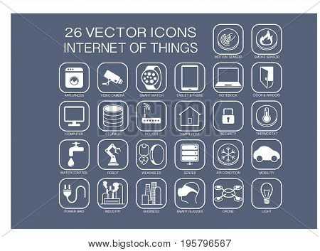 Reusable vector illustration icons for internet of things