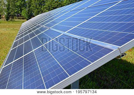 Close up of solar energy panels. Horizontal image.