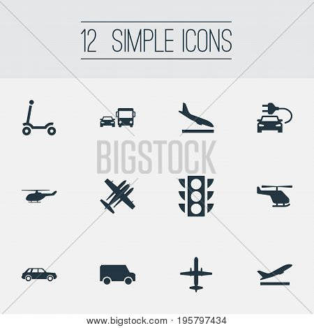 Vector Illustration Set Of Simple Transportation Icons