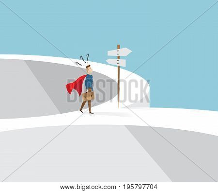 businessman in red cape and briefcase in hand standing confused at cross roads and road sign business concept cartoon vector illustration