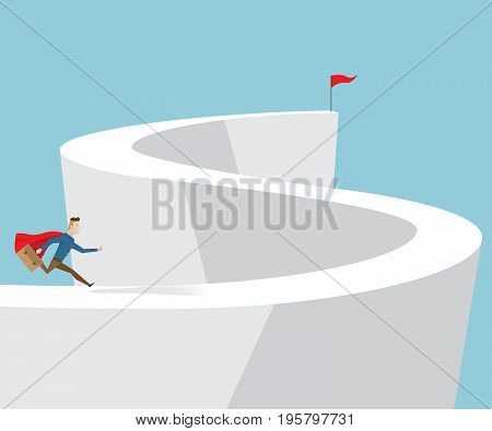 businessman in red cape and briefcase in hand running on the way to target business concept cartoon vector illustration