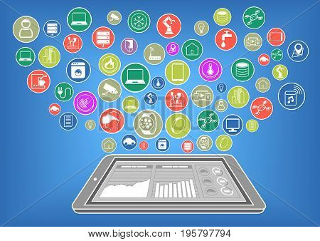 Flat design illustration of smart phone with internet of things