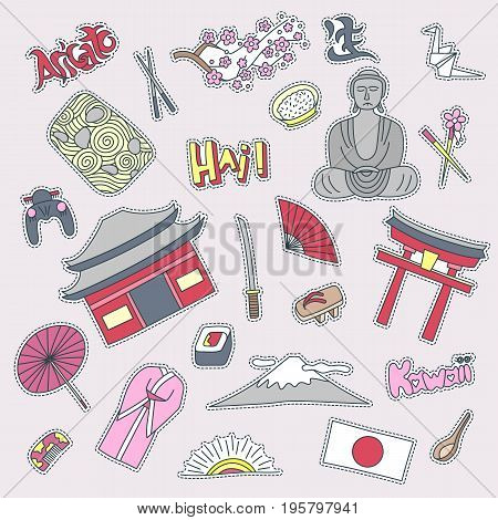 Hand drawn patch badges with Japan symbols - Kimono sakura flag buddha rice sushi stone garden rice origami geisha. Stickers, pins and patches in cartoon 80s-90s comic style.