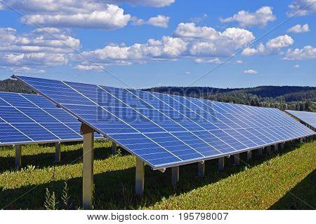 Solar energy panels on sunny day. Horizontal image.