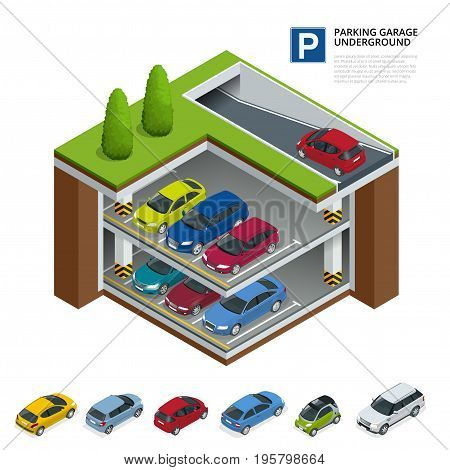 Parking garage underground. Indoor car park. Urban car parking service. Flat 3d isometric vector illustration for infographic