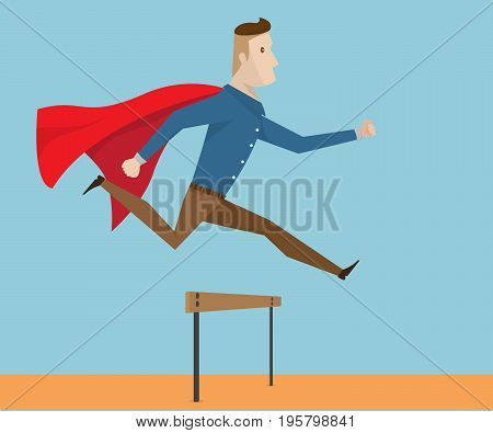 businessman with red cape running and jumping over hurdle business concept cartoon vector illustration