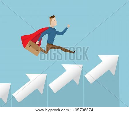 businessman in red cape running on arrow stairs to success business vision concept cartoon vector illustration