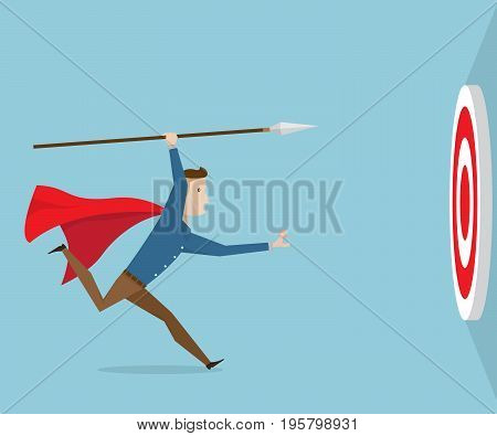 businessman running with spear go to target business vision concept cartoon vector illustration
