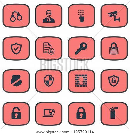 Vector Illustration Set Of Simple Safety Icons