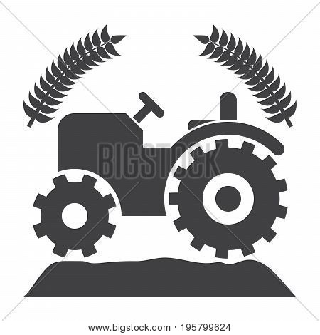 Agriculture or agronomy concept with tractor and wheat, vector silhouette