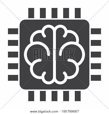 Artificial intelligence concept with chip and brain