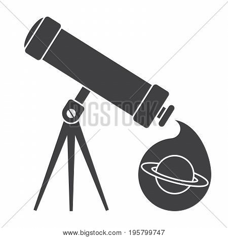 Astronomy concept with black telescope, vector silhouette
