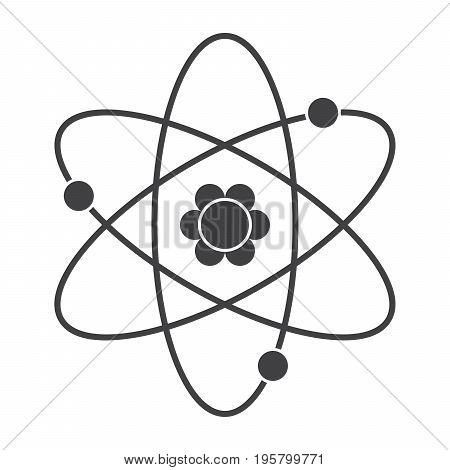 Science concept with atomic model, vector silhouette