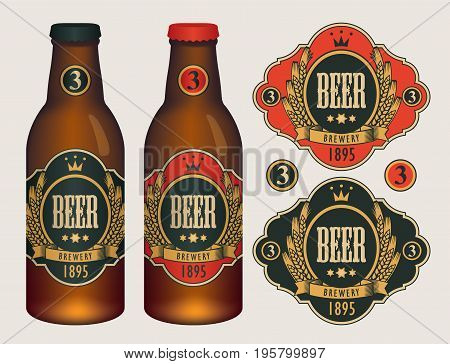 Vector beer labels with coat of arms wreath of wheat and ribbon in curly frame on black and red background in retro style. Two template labels for beer and neck labels on glass bottles with caps.