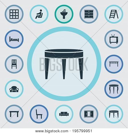 Vector Illustration Set Of Simple Furnishings Icons