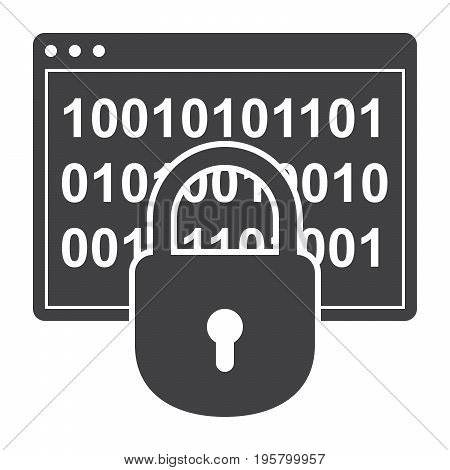 Cryptography concept with window program and lock, vector silhouette