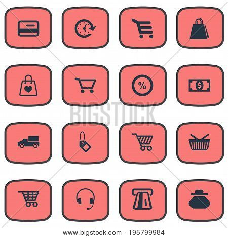 Vector Illustration Set Of Simple Shopping Icons