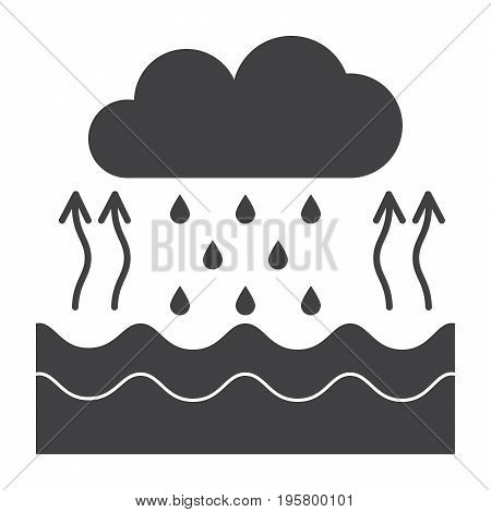 Hydrology concept with water cycle diagram, vector silhouette