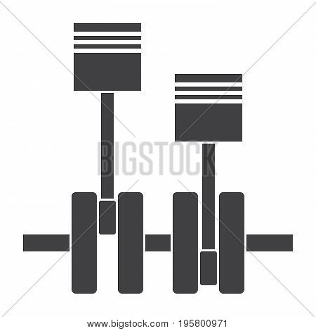 Mechanical engineering concept with pistons and crankshaft, vector silhouette